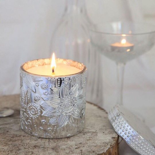Silver Lotus Soy Candles - Pink Champaigne and guava