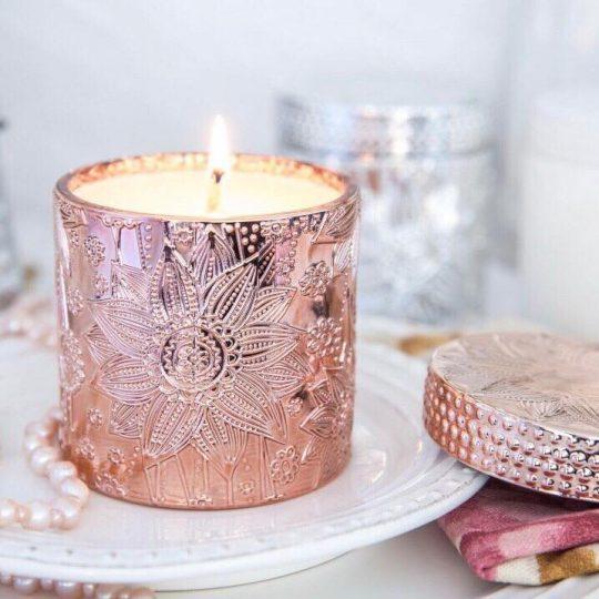 Rose Gold Lotus Soy Candles - Bourbon Vanilla Bean